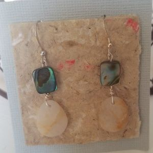Jewelry - Handmade Quartz and Abalone earrings NWT